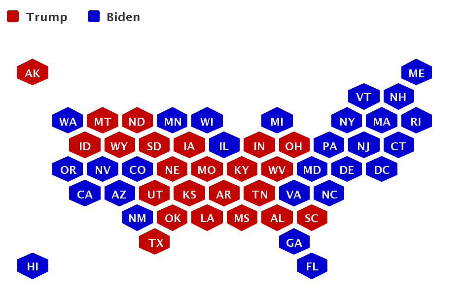 Election honeycomb map