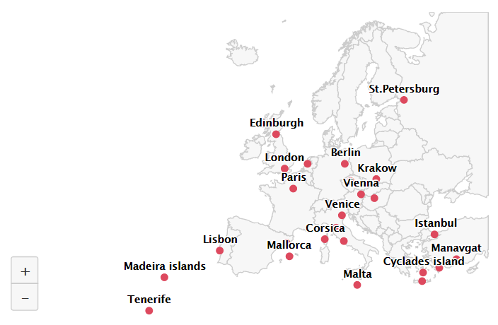 Top 25 Destinations in Europe – Point map