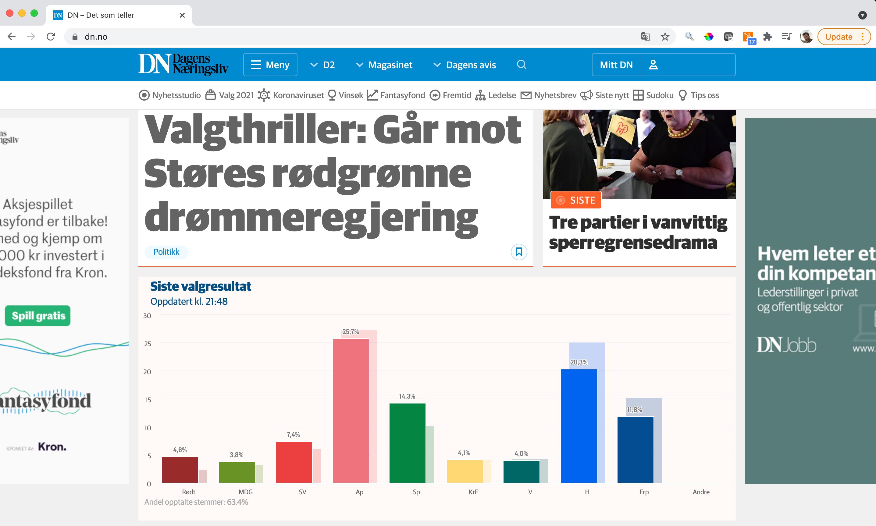 Screenshot of Front page of dn.no during the election